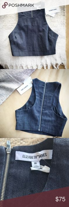 "Elizabeth and James Lipton denim top Elizabeth and James Lipton denim top.  Size medium.  Wear it with pants or a skirt-- awesome top for any look!  Cropped denim halter top Halter neckline Sleeveless Exposed back zip closure Lined About 16"" from shoulder to hem Elizabeth and James Tops"