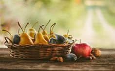 Download wallpapers fruits, pears, apples, plums, autumn harvest
