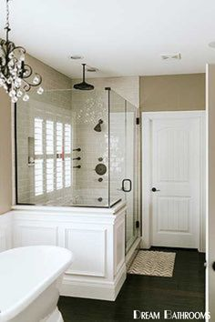 Master Bathroom Decor and Design Ideas Small Bathroom Remodel On A Budget Bad Inspiration, Bathroom Inspiration, Dream Bathrooms, Beautiful Bathrooms, Master Bathrooms, Small Master Bathroom Ideas, Narrow Bathroom, White Bathrooms, Master Baths