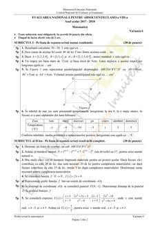 Subiecte Matematica - Evaluare Nationala, clasa a VIII-a, 2018