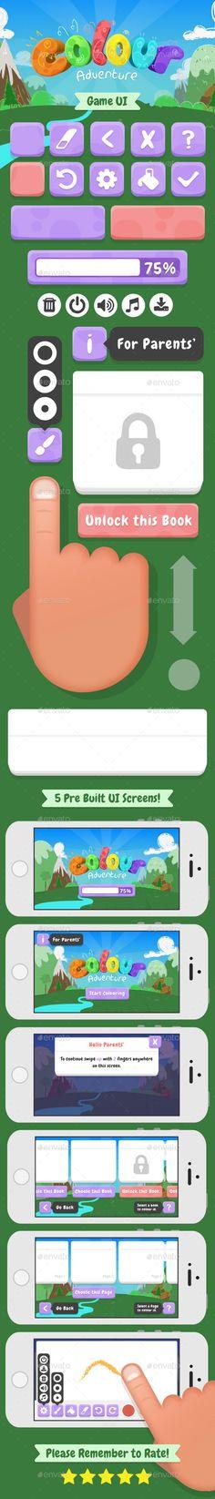 Game UI Kit Colour Adventure - Download: http://graphicriver.net/item/game-ui-kit-colour-adventure/15509732?ref=sinzo #Game #Kits #GameAssets