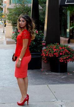 Red peplum and lace / Yara Allam
