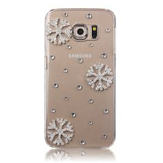 Saicrezy Snowflake Christmas Case Bling crystal clear rhinestone phone cover for Samsung A3 A5 A7 A8. Click visit to buy #RhinestoneCase #rhinestone #case