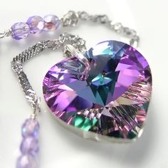 DorotaJewelry | Pink Purple Heart Necklace Sterling Silver Chain Swarovski Amethyst Vitrail Crystal Heart Pendant Necklace