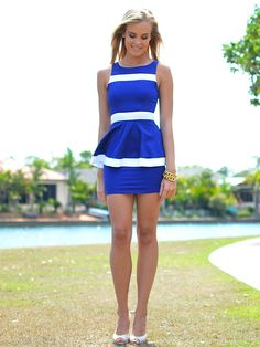 Blue & white peplum