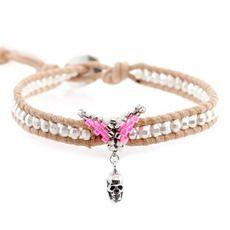 Silver Bead Single Wrap Bracelet with Skull Charm