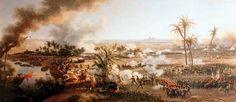 Batalla de las Pirámides, óleo de Louis-François Lejeune. Napoleón invade Egipto con su ejército revolucionario y fuerzas mamelucas.