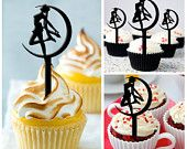 Ca121 New Arrival 10 pcs/Decorations Cupcake Topper/ sailor moon/ Wedding/ Silhouette/ Props/ Party/ Food & drink/ Vintage/Fun/Shop/Birthday