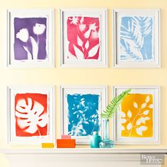 Combine a silhouette and a bontanical print with this clever reverse stenciling project, which is achieved by laying silk flowers and greenery on paper and spray painting over them./