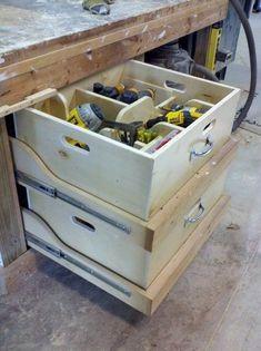 Tool Consolidation and Portability Garage, ideas, man cave, workshop, organization, organize, home, house, indoor, storage, woodwork, design, tool, mechanic, auto, shelving, car. #garagestorage #woodworkingtools