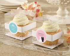Guests love a favor they can eat, and if you love to bake, these sweet Personalized Cupcake Boxes (Set of 12) will be perfect for your wedding favors! Cupcakes are hot in the favor industry: whether you're whipping up a batch for your baby shower or choosing a cupcake-themed favor for a birthday party, guests always seem to love them. These clear cupcake favor boxes are a great way to display your cupcakes in style, keep them fresh, and allow your guests to take them home - all while looking…