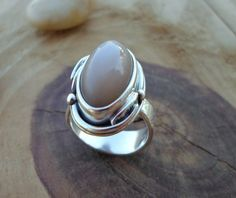 Peach moonstone sterling silver ring artisan by SelinofosArt
