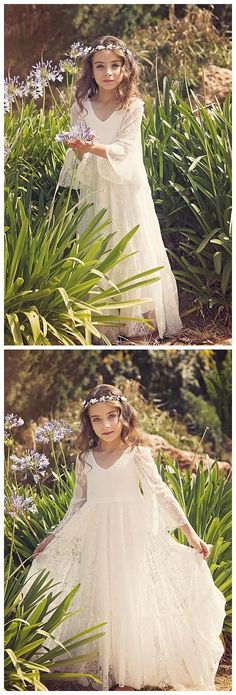 c093dd4539 Modest Lace V-neck Neckline 3 4 Sleeves Floor-length A-line Flower Girl  Dresses FD007. BohoProm