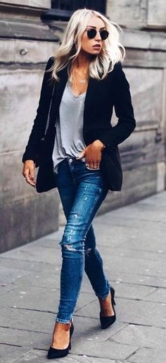 #winter #outfits black blazer and blue denim distressed jeans