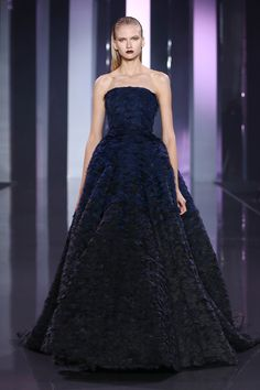Navy blue and black silk organza scalloped ballgown with scattered crystals.