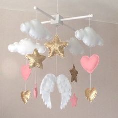 Baby mobile - Baby girl mobile - Cot mobile - Angel wings, clouds, hearts and stars mobile - Cloud Mobile - Nursery Decor - gold and pink. by EllaandBoo on Etsy https://www.etsy.com/listing/250423115/baby-mobile-baby-girl-mobile-cot-mobile