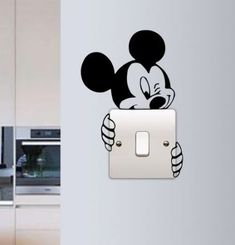 G Gallery Home Decor Mickey Mouse Wall Sticker Switch Vinyl Decal Funny Lightswitch Kids Room DIY in Home Furniture & DIY Home Decor Wall Decals & Stickers Simple Wall Paintings, Wall Painting Decor, Diy Wall Decor, Wall Art, Painting Furniture, Paintings For Kids Room, Diy Painting, Bedroom Furniture, Art Decor
