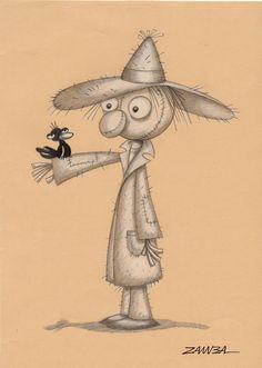 Halloween - Espantalho, técnica de lápis grafite e lápis de cor branco em papel cor - ano de 2008 - Pojeto gráfico para livro.