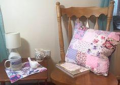 Handmade purple PATCHWORK CUSHION £10.00