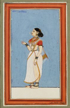 Madras, India (possibly , made)  Thanjavur, India (possibly , made)  Date: ca. 1780 - ca. 1800. One of eight paintings in a set supporting the oral tradition that artists from the Deccan went to work in Madras and Tanjore and began to make sets of types and castes which were the prototypes for Tanjore paintings for the British. This one of a Tamil dancing girl dressed in dancing costume and jewelry, against a light blue background.