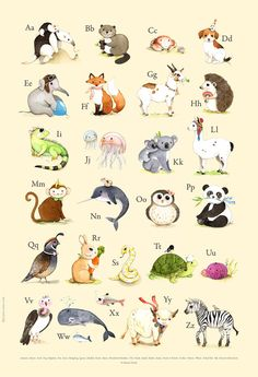 ABC print, abc animals, animal alphabet, alphabet print, alphabet art, abc nursery, abc art, alphabet poster, Watercolor, wall art