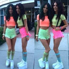 neon crop tops shorts high waisted shorts knee high socks summer outfits festival colorful bright rainbow rave socks shoes tang twinz flatforms fluo
