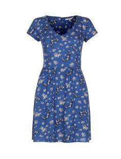 Blue Floral V-Neck Tea Dress