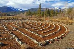 "Montana Red Sun Labyrinth  ""An amazingly wonderful labor of love - the Redsun Labyrinth is beautifully made (using approximately 25 tons of fieldstones to make the pattern) and sits in a spectacularly beautiful location in the Bitterroot Valley of Montana,"" writes Roger Lynn."