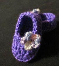 Baby Shoes Booties Handmade Crochet Slipper Preemie/Doll Size Purple Flower
