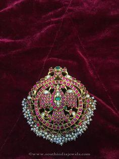 Gold Antique Pendant Designs 2016, Gold Antique Ruby Pendant Designs 2016.Gandaberunda.. Mysore maharajah 's emblem..