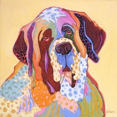 Beauty and the Beholder, contemporary abstracted dog painting of Saint Bernard, painting by artist Carolee Clark