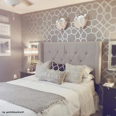 coco-trellis-wall-stencil-pattern-DIY-decor You are in the right place about wallpaper accent wall n Glam Bedroom, Home Decor Bedroom, Diy Home Decor, Bedroom Ideas, Diy Bedroom, Large Bedroom, Design Bedroom, Wall Paper Bedroom, Silver Bedroom Decor