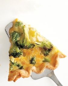 Broccoli Cheddar Quiche. This versatile dish goes from brunch buffet to dinner table in a snap and is great with a leafy green salad. The flaky crust and custard filling make it a perfect vehicle for an array of mix-ins.    Baking the crust before adding the filling, known as blind baking, ensures it won't get soggy. Our favorite pie dough recipe is Basic Pie Crust.