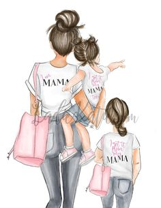 Mother And Daughter Drawing, Mom Daughter, Mother Daughters, Mother Son, Mode Poster, Girly, Mom Mug, Mommy And Me, Art Girl