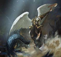 angel by gongcheng on DeviantArt Angel Demon, Angel Warrior, Angel Art, Vs Angels, Angels And Demons, The Elder Scrolls, Dark Elf, Fantasy Inspiration, Fantasy Artwork