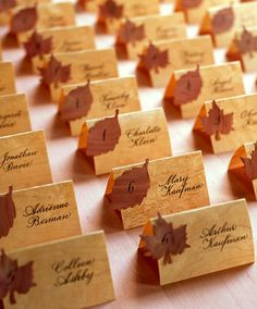 Fall Wedding Ideas: Wooden Place Cards
