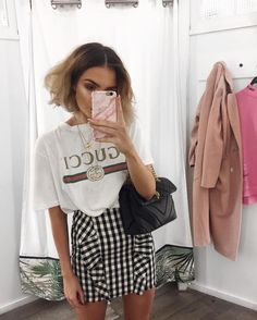 f55e339ebbe8 Pinterest:@luxurylife004 T Shirt Gucci, Gucci Shirts, Gingham Shirt Outfit,  Gingham