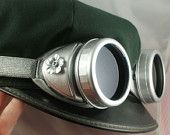 Steampunk Silver Flower Goggles 2 sets of lenses, Victorian Desert Military Industrial Aviator NY
