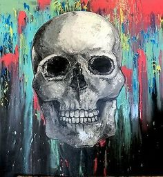 """Very large skull painting by Linda Karslake. About the Artist, Linda Karslake. Linda says. Painting is therapy not only to the artist but the beholder alike """". Skull Painting, Acrylic Painting Canvas, Skull Wall Art, Eco Friendly Paint, Painting Competition, Spray Paint Art, Painting Studio, Creepy Art, Skull And Bones"""