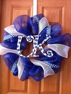 "Blue Mesh, 4"" White Mesh, Polka Dot Ribbon, Grapevine Wreath, Floral Wire"