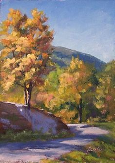 Autumn Below South Mountain Catskill Mountains oil landscape painting, painting by artist Jamie Williams Grossman