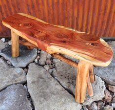 Reclaimed Wood Bench, Wood Slab Bench, Reclaimed Wood Furniture, Rustic Bench, Rustic Furniture, Live Edge Slab Bench, Small Wood Bench by WoodzyShop on Etsy https://www.etsy.com/listing/255260146/reclaimed-wood-bench-wood-slab-bench