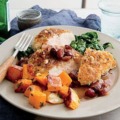 Cooking Light Dinner Tonight:  Hazelnut Chicken, Serve with Garlic and Thyme Roasted Butternut Squash and Wilted Spinach