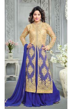 Hina Khan In Blue Net Lehenga Suit  - 16750