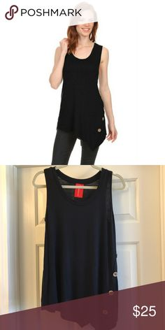 NEW black asymmetrical sleeveless top Asymmetrical hem on this black sleeveless top with button detail. Super cute and stretchy!! 95% rayon 5% spandex. Bundle and save! Fashionomics Tops Tank Tops
