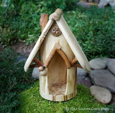 Aspen Gnome Home with Eucalyptus pod and acorn light by willodel