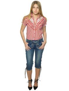 Lederhosen jeans til dame - Oktoberfest kostymer