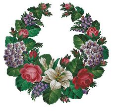 Open garland with roses wistaria and forget-me-not por Smilylana