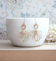 Small Bird Aquamarine Glass Pear Drop Hook Earrings. by Marolsha