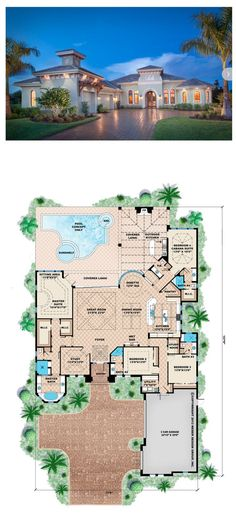 The Basseterre House Plan provides the elegance one would expect in our Mediterranean home designs along with a functional and comfortable floor plan. With a great room layout that is perfect for entertaining, this one story house plan has all the attract